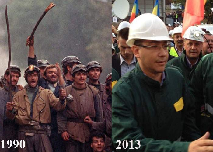 PSD-ul nu mai e ce-a fost! Iliescu manipula în 1990 zeci de mii de mineri, Ponta, în 2013, doar 33