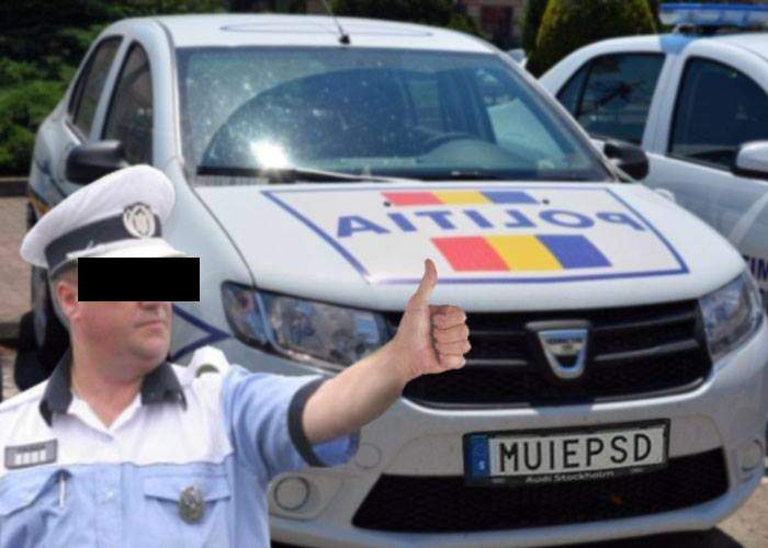 Invidie! Poliţiştii au luat numerele cu MUIEPSD, dar ca să le pună pe maşina lor
