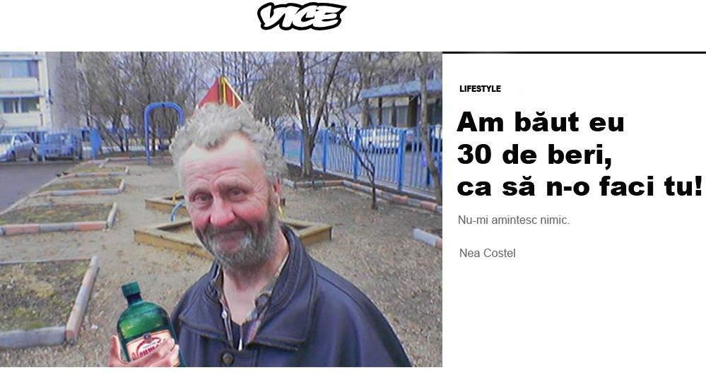 """Nea Costel, drojdier, debut în Vice cu articolul """"Am băut eu 30 de beri, ca să n-o faci tu!"""""""