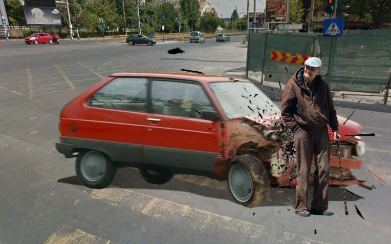 Carnagiu la Moghioroş. Un pensionar a spulberat un Oltcit pe trecerea de pietoni