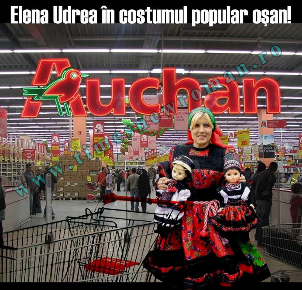 Elena Udrea se îmbracă după ultima modă a cumpărăturilor la Auchan