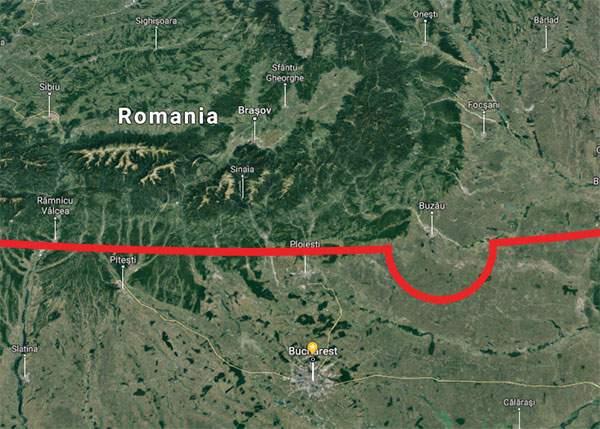 Paralela 45 face o buclă în jurul Buzăului, de silă să nu intre în Moldova