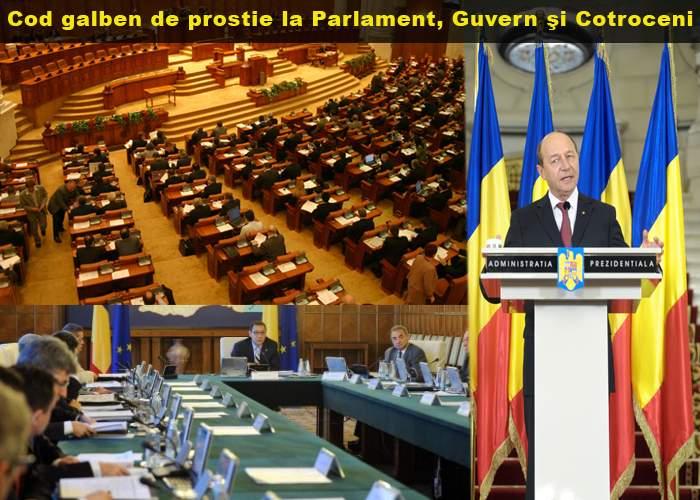 Atenţionare de cod galben de prostie la Palatul Parlamentului, Guvern şi Cotroceni