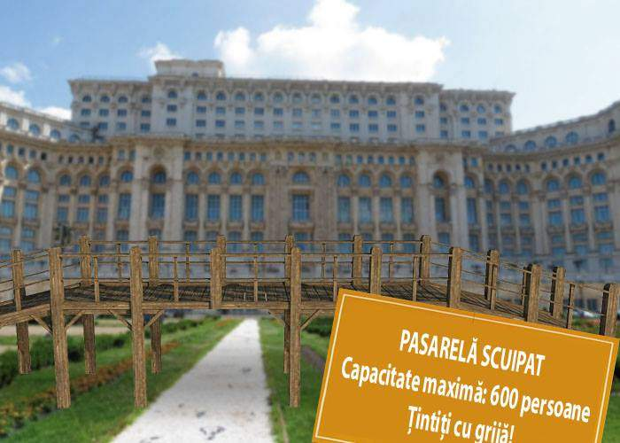 Deasupra intrării în Parlament va fi montată o pasarelă, de unde cetățenii să scuipe-n cap deputații