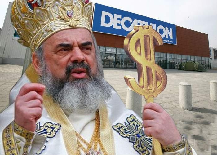 Patriarhul a făcut azi 6 milioane de Euro, sfinţind ghiozdane în faţă la Decathlon