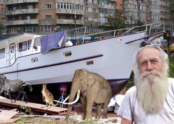 Semn că ploile nu se opresc? Un pensionar din Titan şi-a făcut o barcă mare şi bagă animale în ea