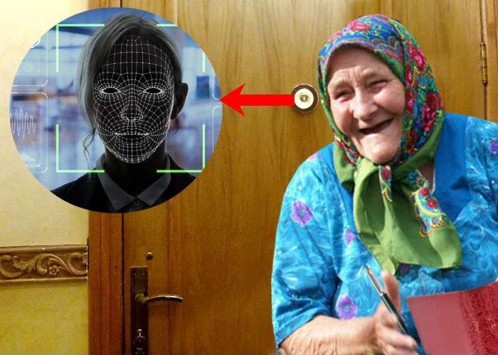 Pensionară care se uită pe vizor de 30 de ani, liderul unui start-up de facial recognition