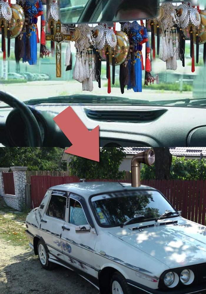 Un român şi-a montat periscop la Dacie, pentru că nu mai vedea nimic de cruciuliţele din parbriz