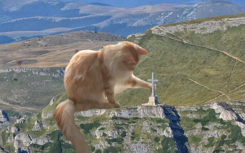 Scandal în Bucegi după ce o pisică imensă a dărâmat crucea de pe Caraiman