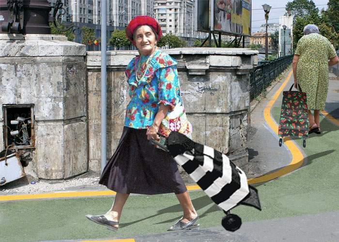 Pensionarii solicită piste speciale pentru coşurile de cumpărături cu rotile