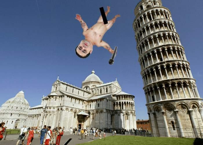 România contraatacă. Adi Minune s-a aruncat dezbrăcat din Turnul din Pisa