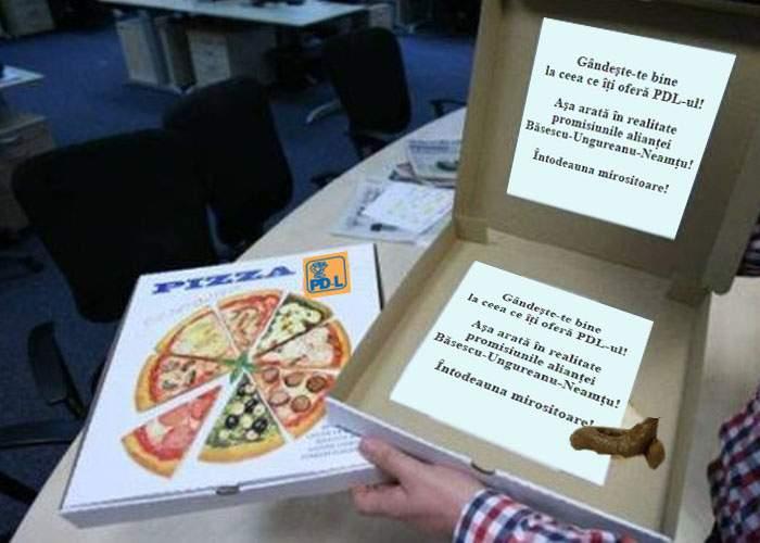 Poza zilei! După pizza USL, în Bucureşti se împarte şi pizza PDL