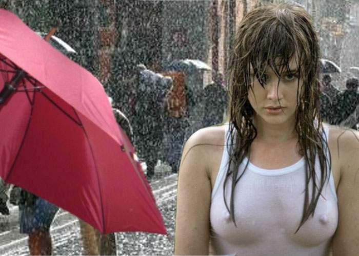 Cercetătorii britanici au descoperit că femeile trebuie să stea în ploaie doar în maiou, fără sutien