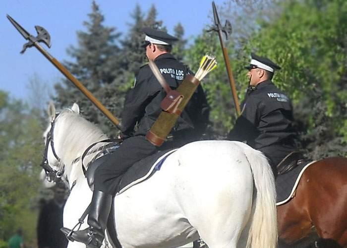 Poliţiştii călare din Capitală vor fi dotaţi cu armament modern: suliţe şi arcuri cu săgeţi