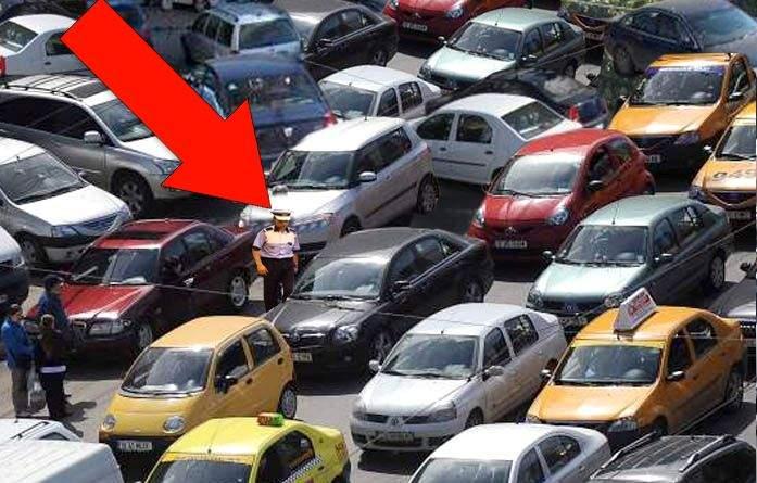 Studiu! Oriunde există un blocaj rutier, la cel mult 1 km distanță se află polițistul responsabil
