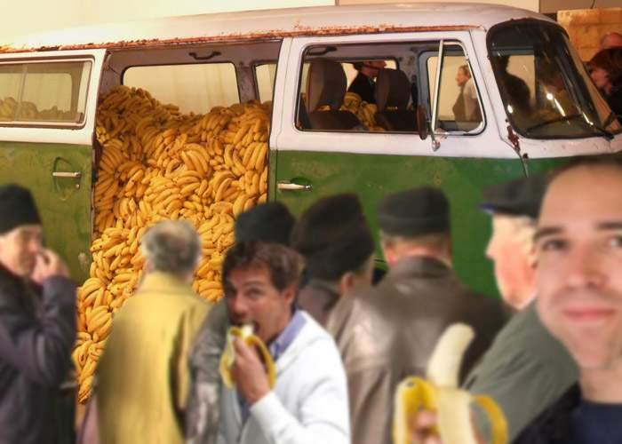 Ştacheta a fost ridicată! Un candidat a oferit direct banane alegătorilor din colegiul său!