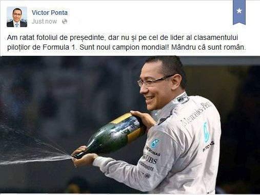 Foto! Victor Ponta se laudă pe Facebook că a câștigat cursa de Formula 1 din Abu Dhabi