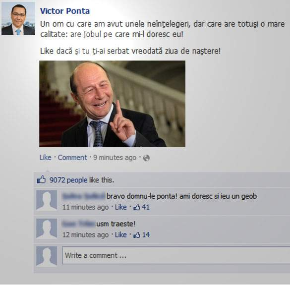 Poza zilei! Urarea surprinzătoare a lui Victor Ponta de ziua lui Băsescu