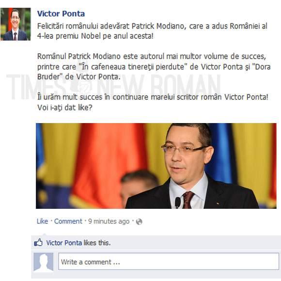 Poza zilei! Victor Ponta îl felicită pe Facebook pe laureatul Nobelului pentru literatură