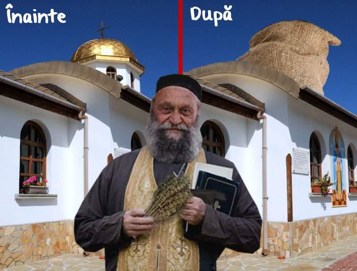 Câtă decenţă! Un preot şi-a acoperit turla de aur cu o prelată, ca să nu mai comenteze săracii
