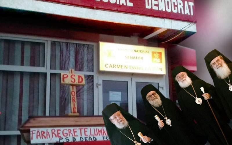 Coşciugul şi crucea din faţa sediului PSD au atras zeci de popi care credeau că e rost de bani