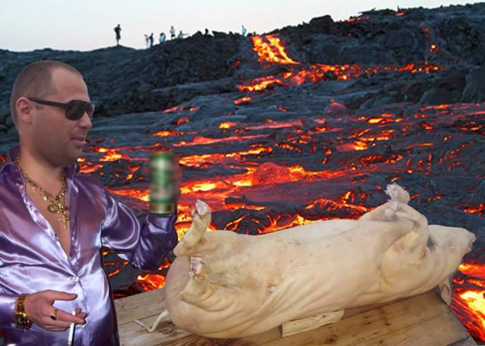 Suntem peste tot acasă! Un român din Italia a tăiat porcul şi l-a pârlit în Vulcanul Etna
