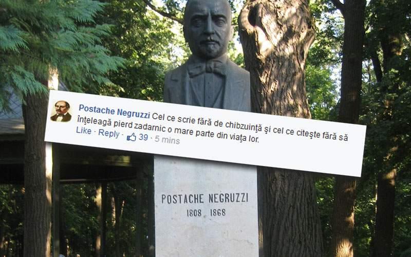 Scriitorul Postache Negruzzi, acuzat de propagandă paşoptistă pe Facebook