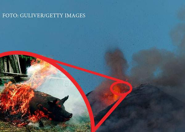 Vulcanul Etna n-a erupt, doar pârlesc niște români porcul acolo