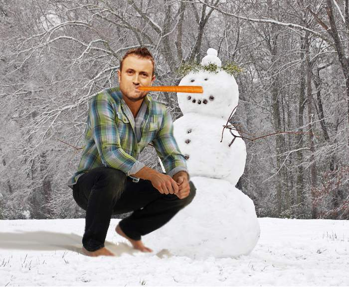 Poza zilei! Bote, surprins de paparazzi în Pădurea Băneasa sugând morcovul unui om de zăpadă