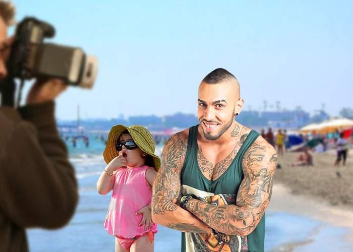 Maimuțica Alex Velea face furori pe plajă! Toți copiii vor să se pozeze cu ea!
