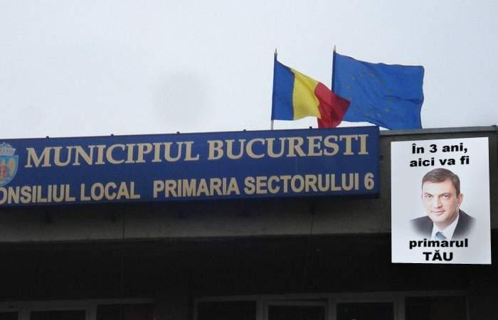 """Afiș dătător de speranțe în fața Primăriei sector 6: """"În 3 ani primarul Rareș Mănescu va fi aici!"""""""