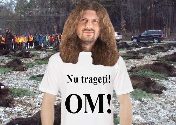 """Remus Cernea a apărut la vânătoarea de la Balc cu un tricou pe care scria: """"Nu trageți! OM!"""""""