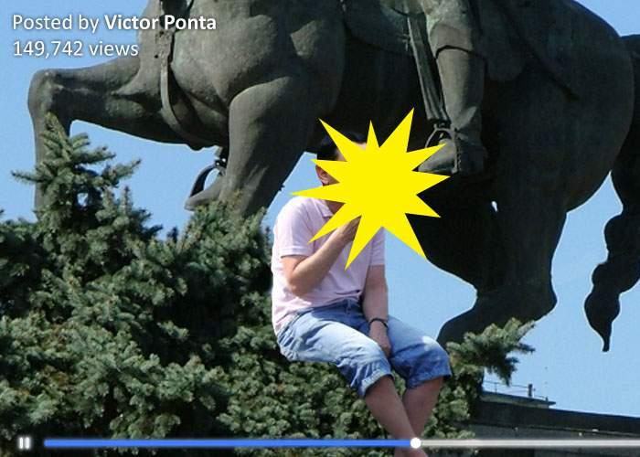 Ponta recidivează! S-a filmat sub calul lui Mihai Viteazul ţinând în gură ceva ce părea a fi un salam