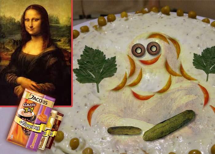 O gospodină din Mizil a reuşit să recreeze zâmbetul Mona Lisei din gogoşari pe o salată beouf