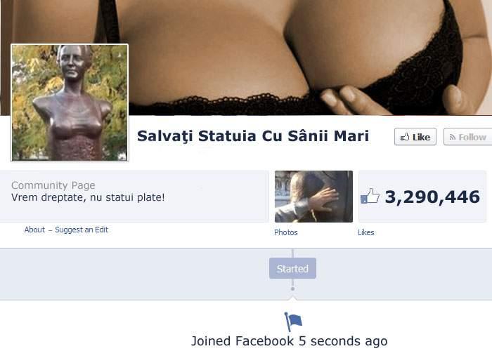 """Facebook e blocat! 3 milioane de români au dat Like instant la cauza """"Salvați statuia cu sânii mari"""""""