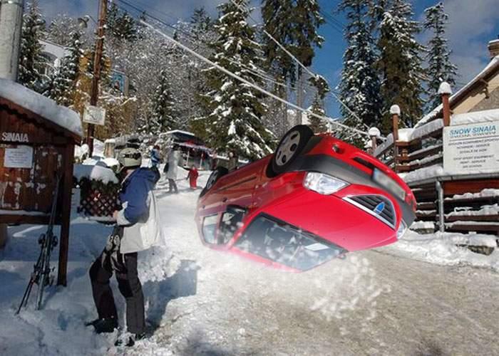 Ingenios! În loc să-şi pună cauciucuri de iarnă, un român a întors maşina cu roţile în sus şi o foloseşte ca sanie