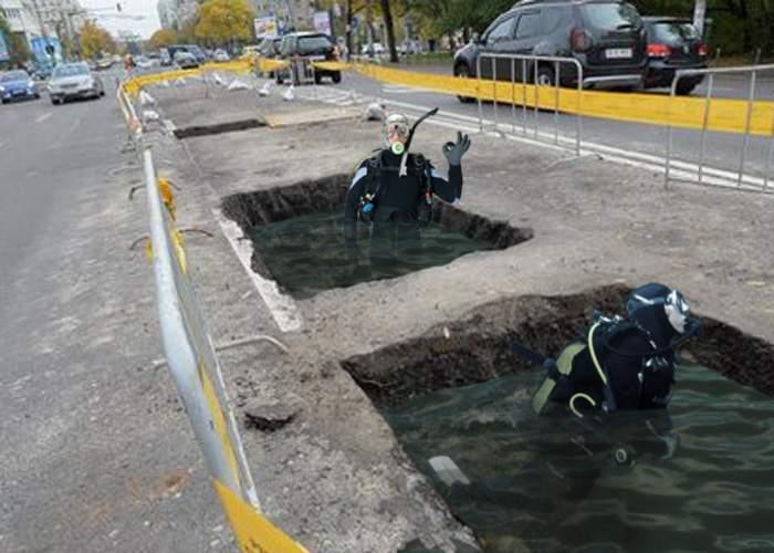 Lucrătorii stradali vor fi dotați cu costume de scafandru, ca să poată dormi în gropile umplute cu apă