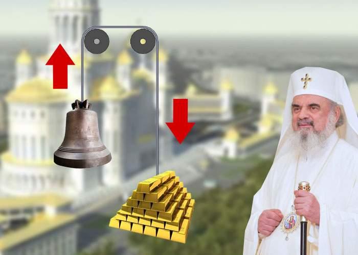 Ca să ridice clopotul uriaş cu scripetele, Patriarhul are nevoie de 25 de tone de aur de la stat, pentru contragreutate!