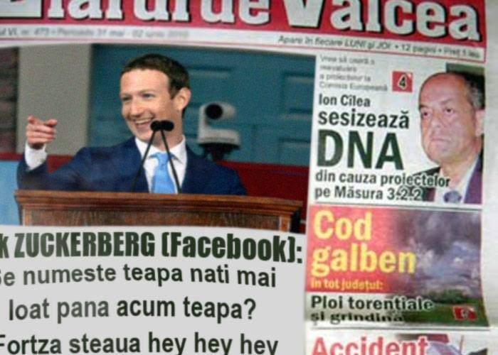 "Zuckerberg a luat reclamă și în ziare românești: ""Se numeste teapa nai mai loat pana acum teapa? Fortza steaua hey hey hey"""