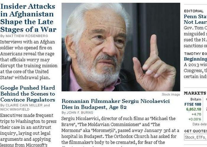 Foto! Gafă incredibilă a New York Times în articolul despre moartea lui Sergiu Nicolaescu