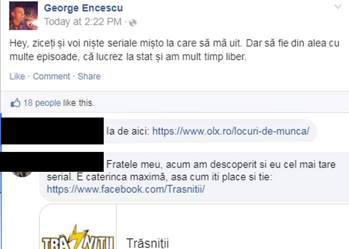 Cruzime! Un român a cerut pe Facebook o recomandare de serial și a primit link spre un job