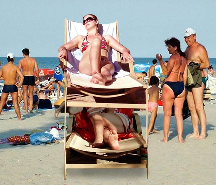 Foto! Soluţie pentru aglomeraţia de pe plajă: au apărut şezlongurile supraetajate