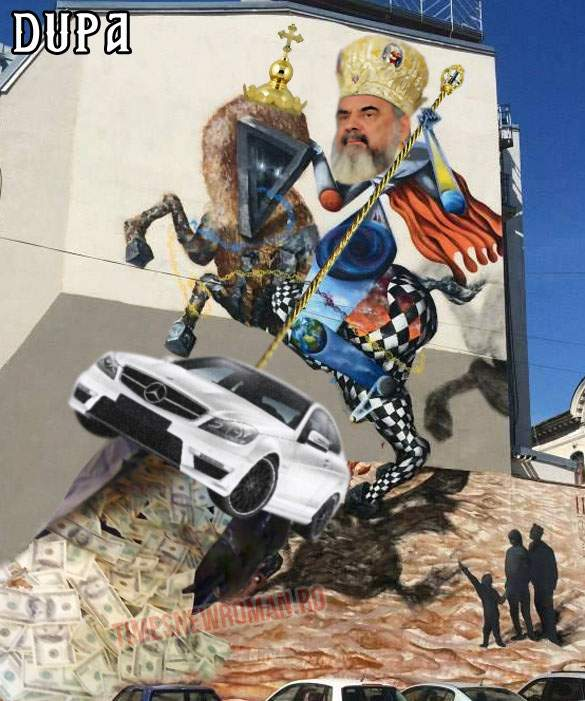 Poza zilei! Pictura murală din Piaţa Sf. Gheorghe, modificată conform cerinţelor Bisericii