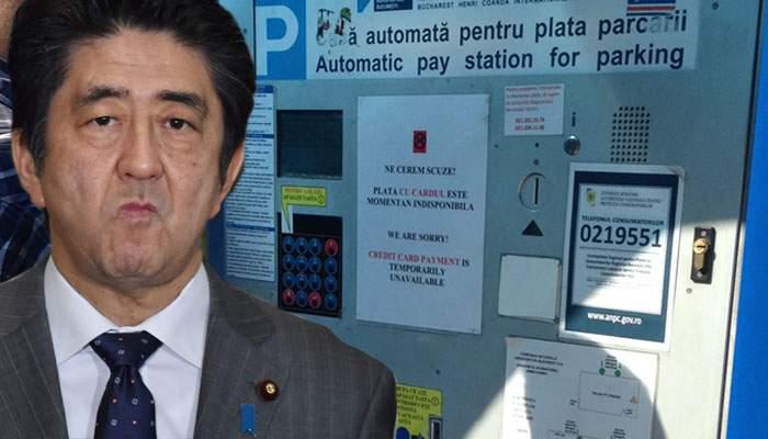 Incident diplomatic. La Otopeni i-au cerut lui Shinzo Abe 500 de lei, că pierduse tokenul albastru de la parcare