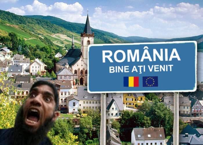 """Josnic! Ca să alunge refugiaţii, Germania a ridicat la graniţă un panou cu """"Bun venit în România"""""""