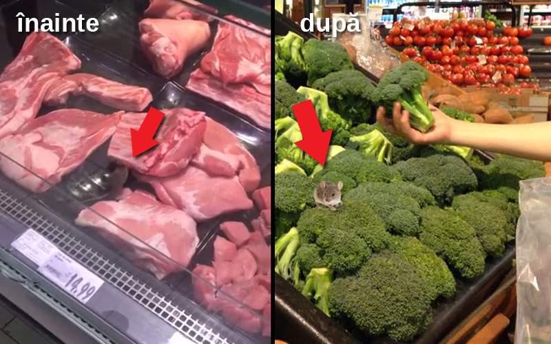 Pentru că e post, șoarecele din Kaufland a fost mutat de la carne la raionul legume