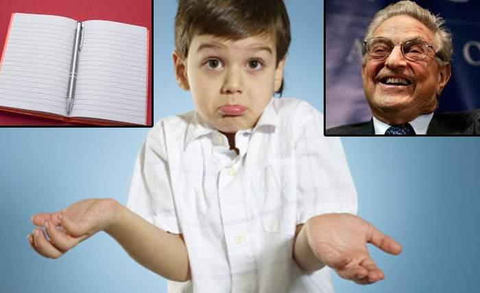 E deja pesedist! Un copil care şi-a petrecut vacanţa la bunici susţine că nu şi-a făcut tema din cauza lui Soros