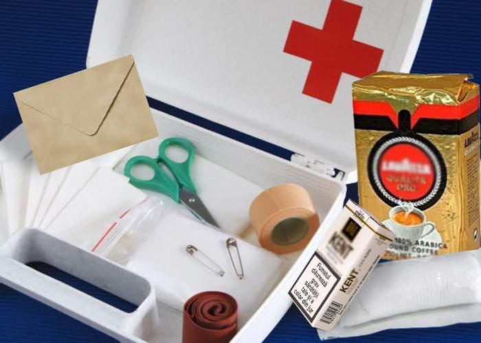 Trusa de prim ajutor va conţine plicuri, cafea şi Kenturi în caz că e un medic la locul accidentului