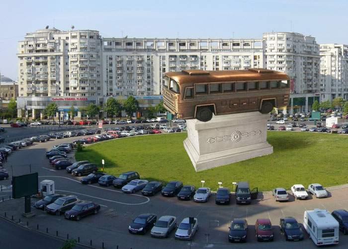 Cu banii pentru cele 400 de autobuze promise anul trecut, Firea va inaugura statuia unui autobuz
