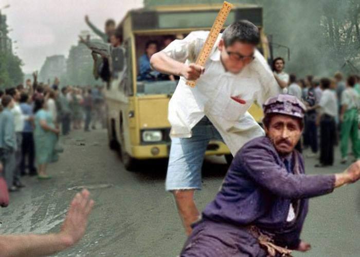 După 25 de ani. Un grup de hipsteri şi studenţi plătiţi de Soros au bătut minerii în faţa Guvernului